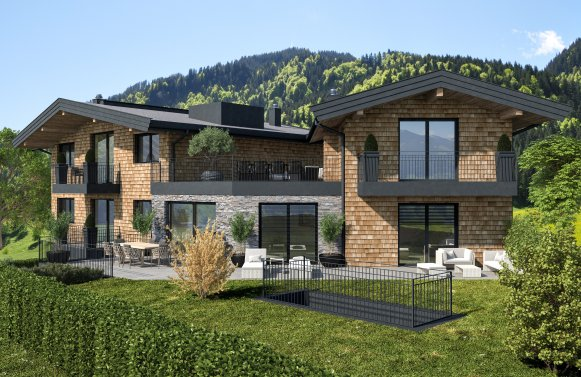 Property in 6370 Kitzbühel: Exclusive townhouse with lift, terraces, sauna - near Lake Schwarzsee