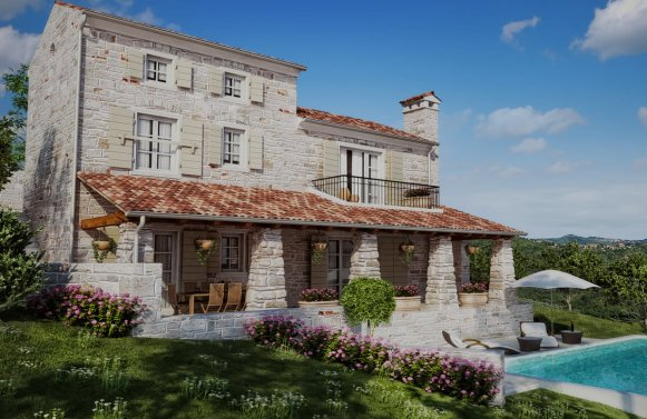 Property in 52424  Motovun: Mediterranean natural stone villa with pool in a convenient location
